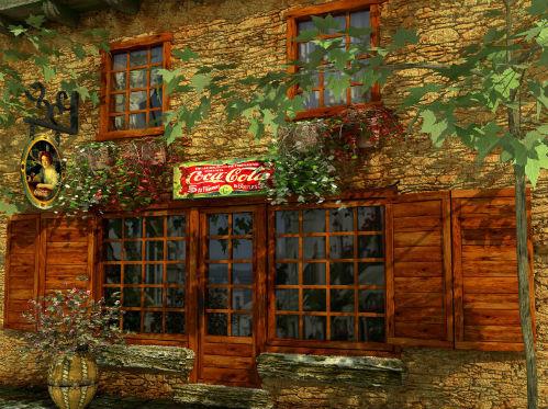 Fachadas de casas de piedra y madera.